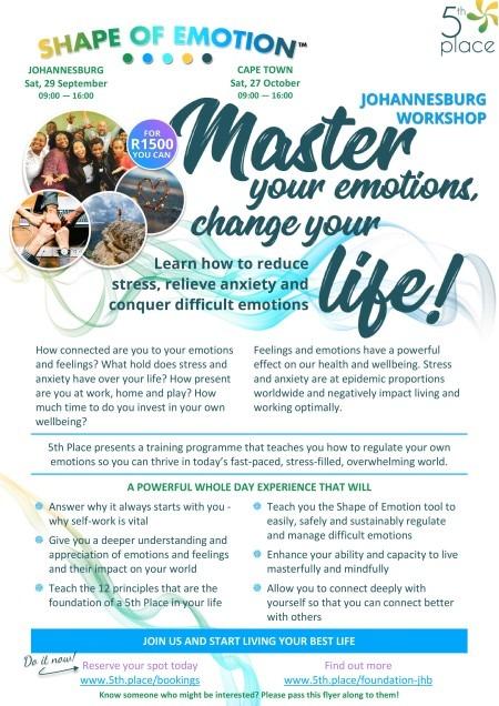 5th Place flyer Shape of Emotion-foundation September workshop, Johannesburg