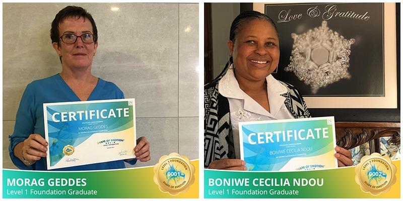 Celebrating our first graduates, Morag & Boniwe